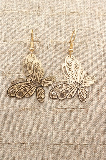 Ocean Fashion Fashion gold big butterfly earrings Image 5