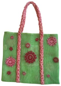 ISI by Isabelle Fraysse Embroidered Purse Tote in Pink and Green
