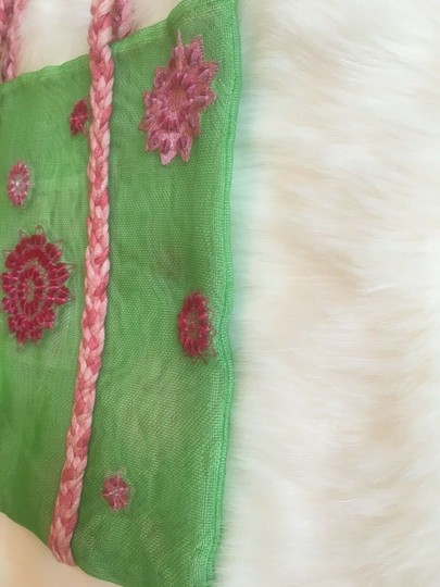 ISI by Isabelle Fraysse Embroidered Purse Tote in Pink and Green Image 3