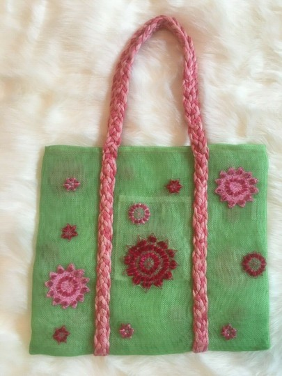 ISI by Isabelle Fraysse Embroidered Purse Tote in Pink and Green Image 4