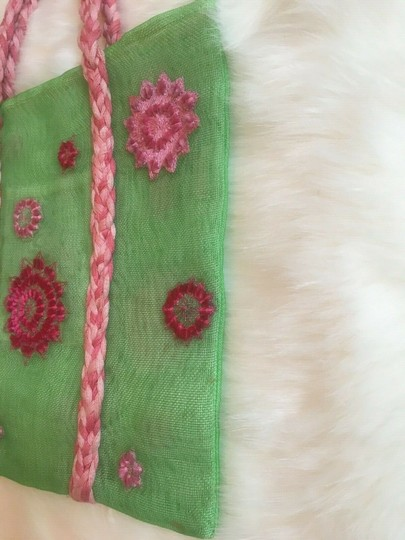 ISI by Isabelle Fraysse Embroidered Purse Tote in Pink and Green Image 5