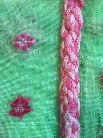 ISI by Isabelle Fraysse Embroidered Purse Tote in Pink and Green Image 6