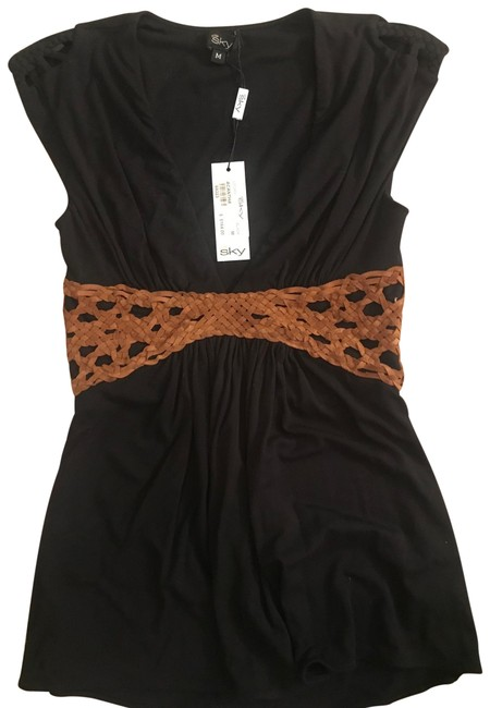 Item - V Neck Cutout Shoulders And Black with Brown Leather Trim/Design Top
