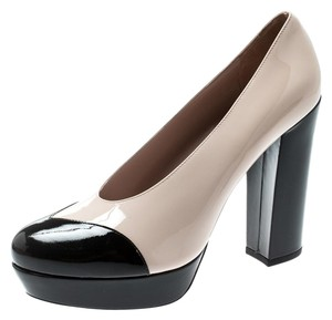Miu Miu Patent Leather Platform Leather Beige Pumps