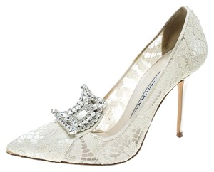 Manolo Blahnik Lace Satin Crystal Embellished Leather Cream Pumps