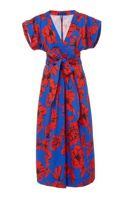 Item - Red/Blue Luciano Mid-length Short Casual Dress Size 4 (S)