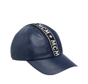 MCM Blue Logo Tape Cap In Nappa Leather