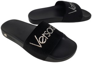 Versace Gold Hardware Medusa Monogram Logo Crystal Black Sandals