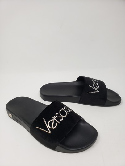 Versace Gold Hardware Medusa Monogram Logo Crystal Black Sandals Image 10