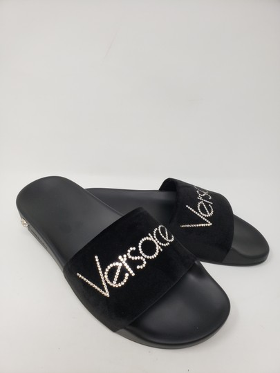 Versace Gold Hardware Medusa Monogram Logo Crystal Black Sandals Image 3