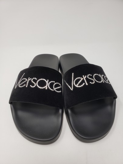 Versace Gold Hardware Medusa Monogram Logo Crystal Black Sandals Image 5