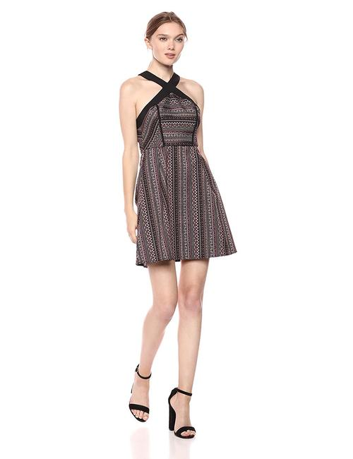 Item - Brown Women's Cross Front Fit & Flare Multi-color Combo Short Casual Dress Size 12 (L)