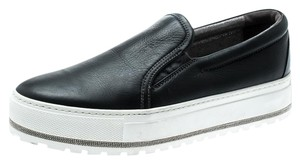 Brunello Cucinelli Leather Suede Rubber Black Flats
