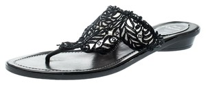 Rene Caovilla Crystal Lace Leather Black Flats
