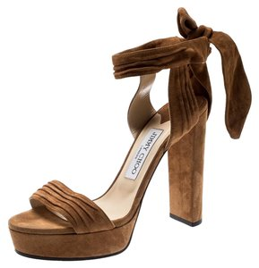 4f51a8e878 Jimmy Choo Pleated Suede Ankle Platform Leather Brown Sandals