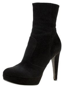 Sergio Rossi Suede Platform Ankle Black Boots