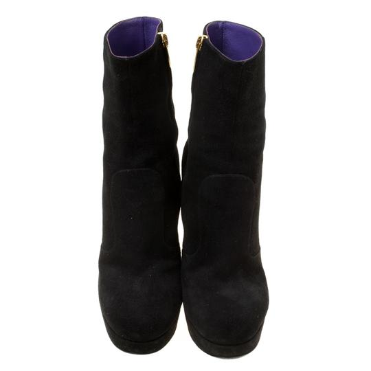 Sergio Rossi Suede Platform Ankle Black Boots Image 1
