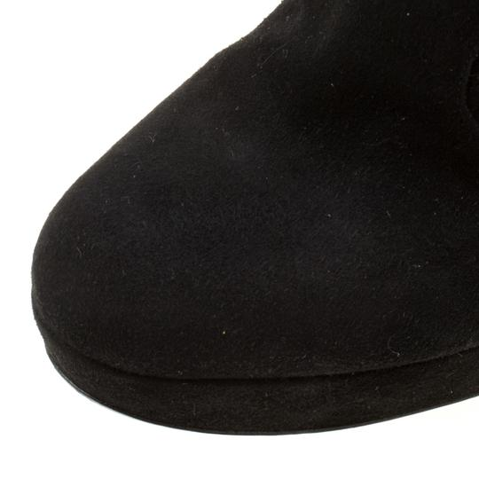 Sergio Rossi Suede Platform Ankle Black Boots Image 6