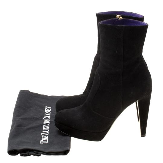 Sergio Rossi Suede Platform Ankle Black Boots Image 7