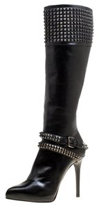 Le Silla Leather Studded Rubber Black Boots