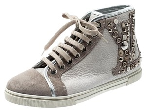 Louis Vuitton Suede Leather Studded Rubber Grey Flats