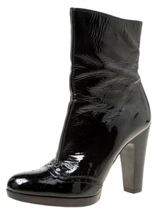 Miu Miu Patent Leather Ankle Black Boots