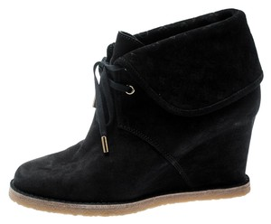 Louis Vuitton Monogram Suede Ankle Black Boots