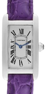 the latest 89364 59fad Cartier Silver Tank Americaine 18k White Gold Ladies W2601556 Watch 49% off  retail