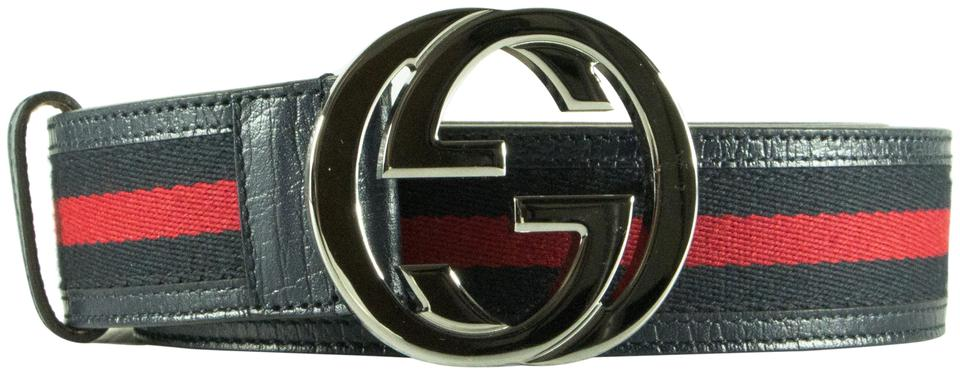 d99dbf0b0 Gucci Blu and Red With Logo Buckle Blue Belt - Tradesy