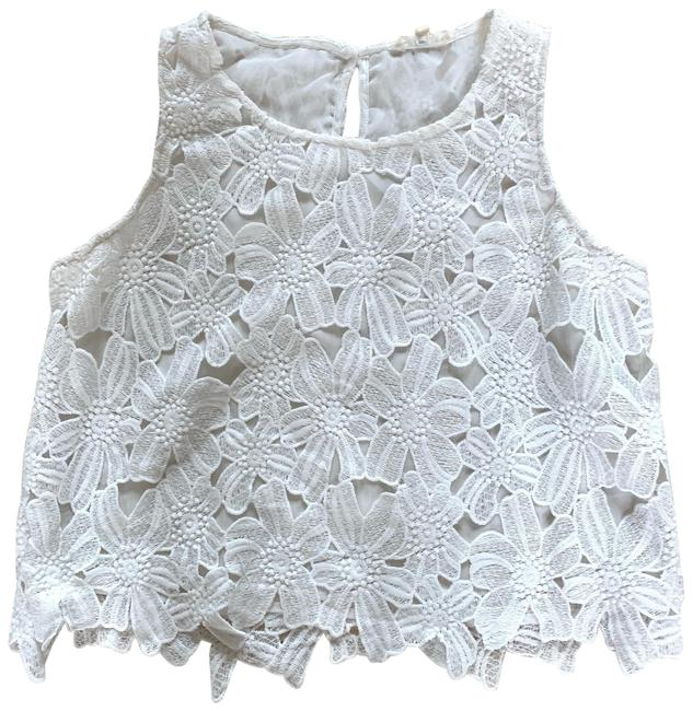 Item - White Lace Flower Overlay Oversized Crop Blouse Size 12 (L)