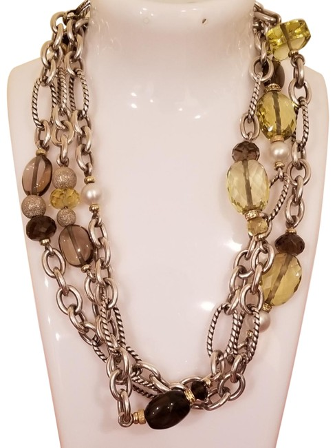Item - Brown Figaro In 925 18k Gold Pearls Long Rare Necklace
