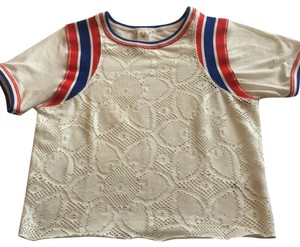 Free People T Shirt Off white with red and blue stripes