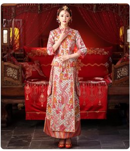 Pink Silver Fine Embroidery Traditional Chinese Gown Modern Wedding Dress Size 0 (XS)