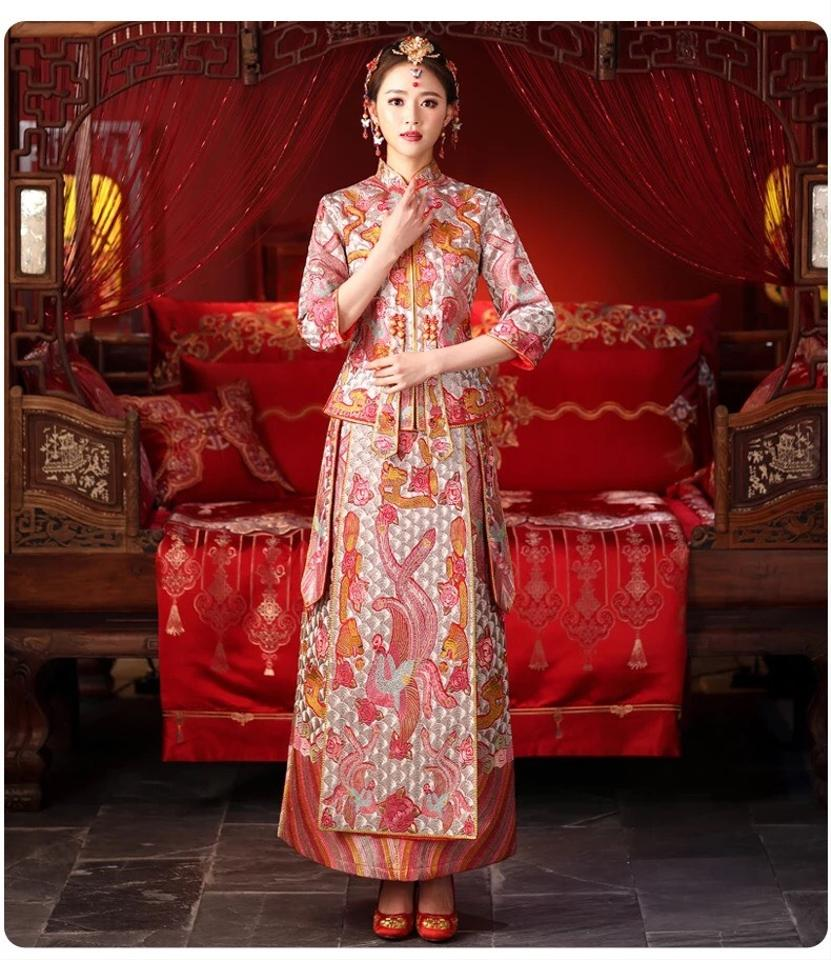 Pink Silver Fine Embroidery Traditional Chinese Gown Modern Wedding Dress Size 0 Xs