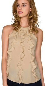 Amanda Uprichard Ruffle Halter Night Out Date Night Party Top Bisque