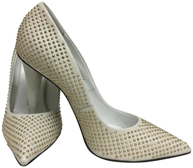 Item - White With Gold Studs Pumps Size EU 41 (Approx. US 11) Regular (M, B)
