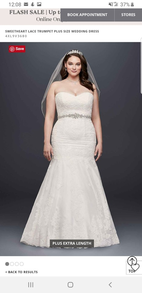 David\'s Bridal White Sweetheart Lace Trumpet Style Formal Wedding Dress  Size 12 (L) 41% off retail