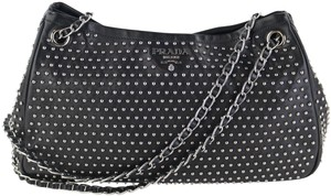 Prada Studded Bowler Studded Studded Tote in Black