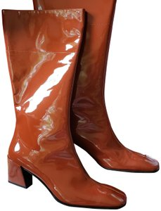 Miu Miu Chunky Patent Leather Italian Brown Boots