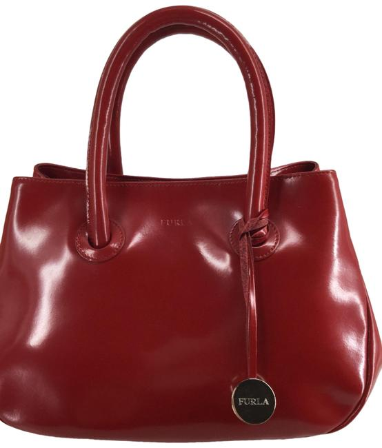 Furla Bag Small Apple Red Patent Leather Tote Furla Bag Small Apple Red Patent Leather Tote Image 1