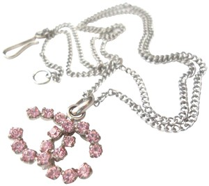 Chanel Chanel CC Logo pink Crystal Pendant Chain Choker Necklace