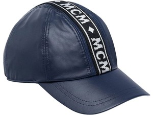 MCM MCM Blue Logo Tape Cap In Nappa Leather