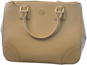 Tory Burch Saffiano Leather Crosshatch Leather Split Compartment Satchel in Toasted Wheat Beige