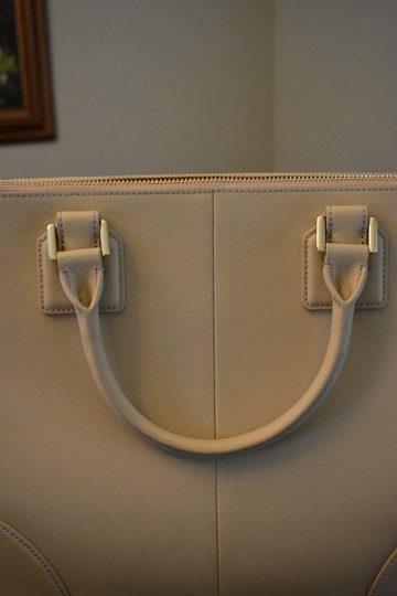 Tory Burch Saffiano Leather Crosshatch Leather Split Compartment Satchel in Toasted Wheat Beige Image 2