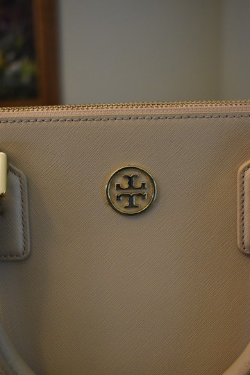 Tory Burch Saffiano Leather Crosshatch Leather Split Compartment Satchel in Toasted Wheat Beige Image 5