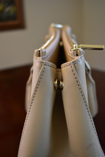 Tory Burch Saffiano Leather Crosshatch Leather Split Compartment Satchel in Toasted Wheat Beige Image 6