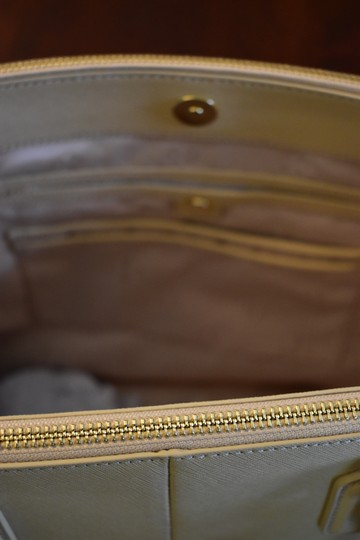 Tory Burch Saffiano Leather Crosshatch Leather Split Compartment Satchel in Toasted Wheat Beige Image 8