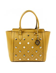 Versace 19.69 Leather Studded Satchel in Yellow