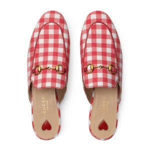 Gucci Red and White Mules