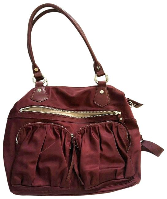 Item - Large Abbey Burgundy/Plum Leather-trimmed Burgundy/Plum Nylon Satchel